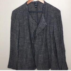 Eileen Fisher tweed linen blend open front blazer